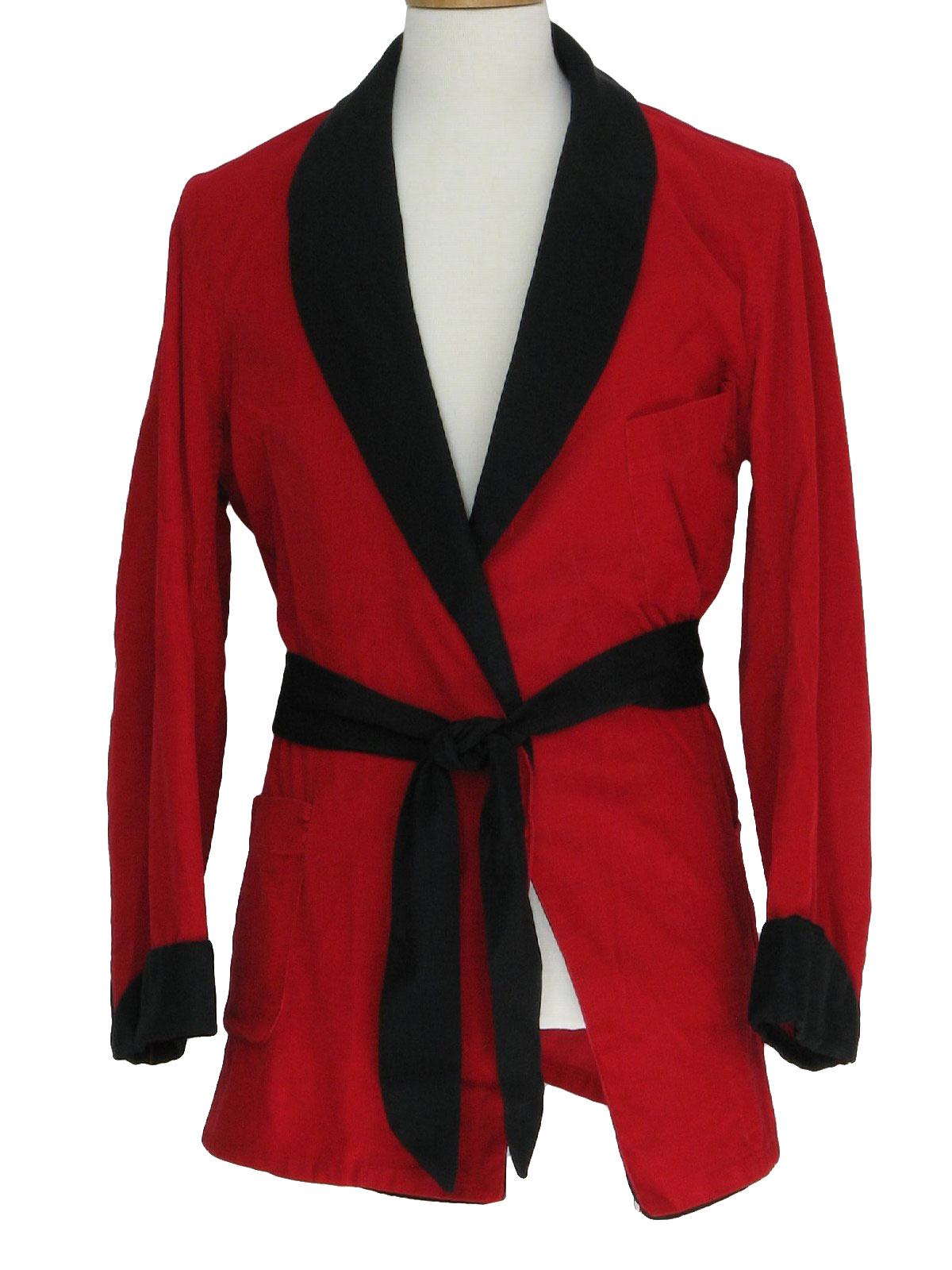 Vintage 1950s Red and Black Corduroy Smoking Jacket x47b5E