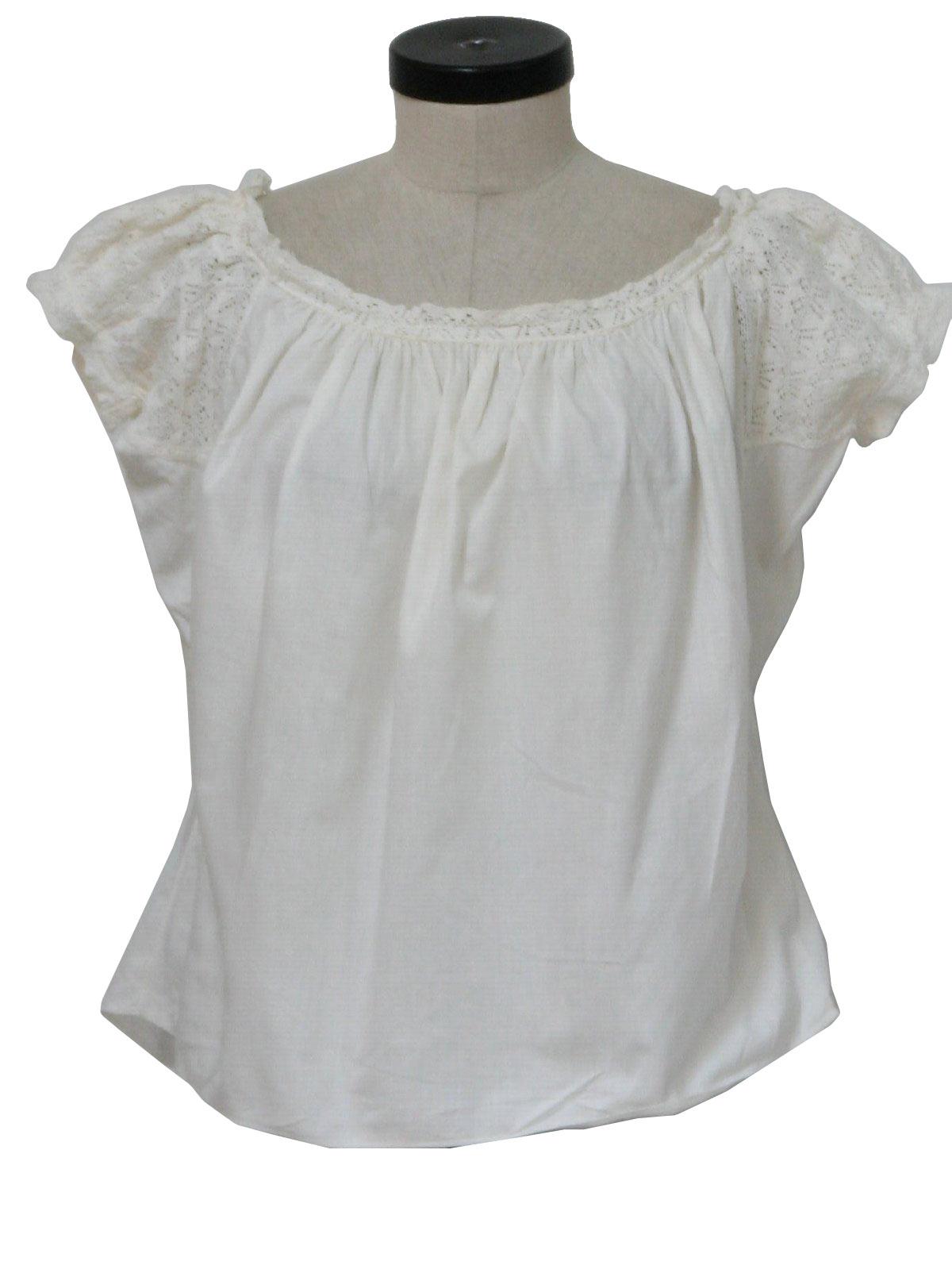 White Short Sleeve Peasant Blouse 51