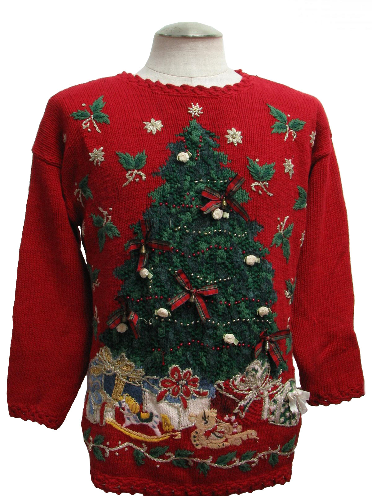 Womens Super Ugly Christmas Sweater Tiara Womens Red
