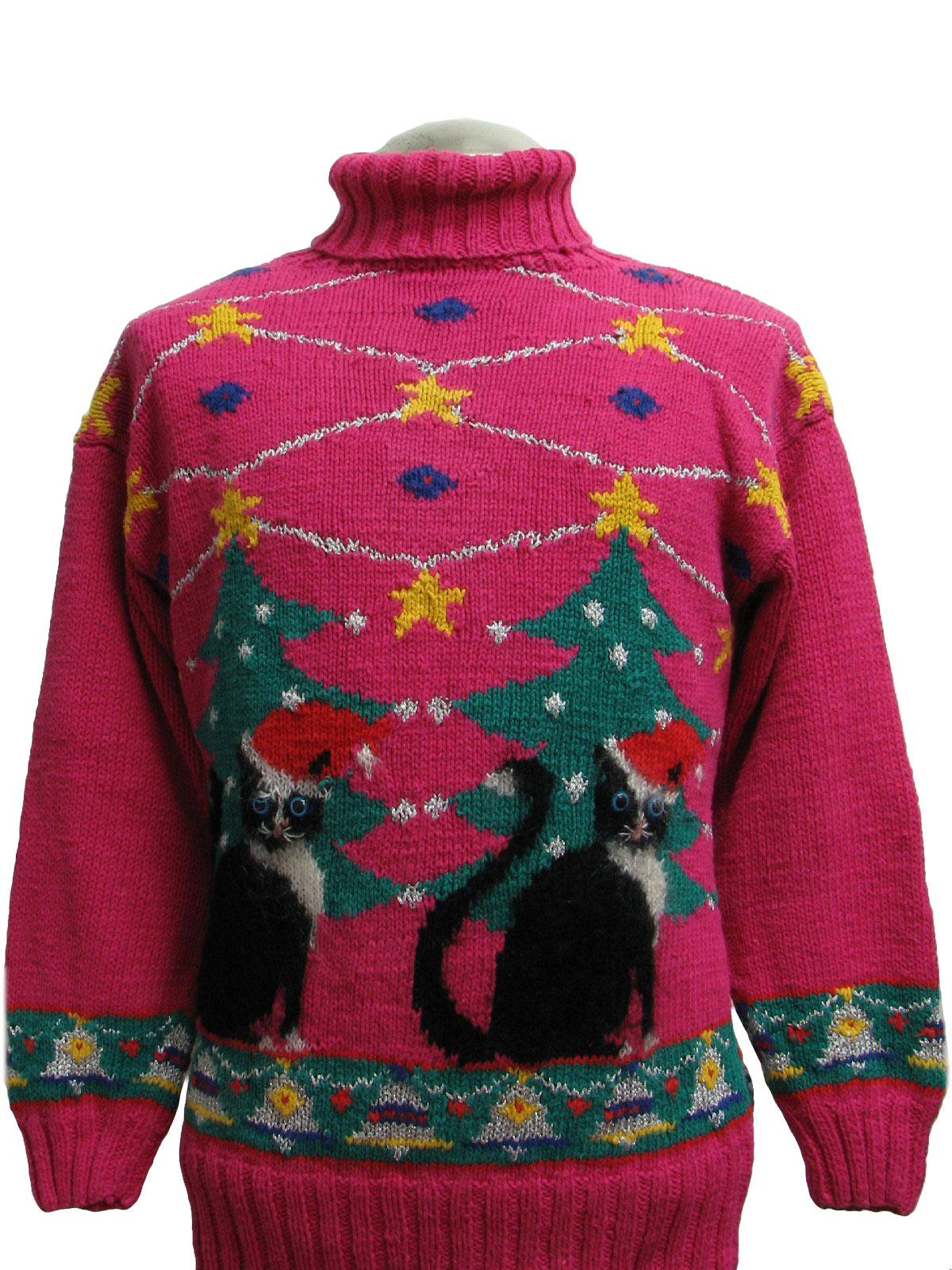 Casual Corner Womens Creepy Cat Ugly Christmas Sweater