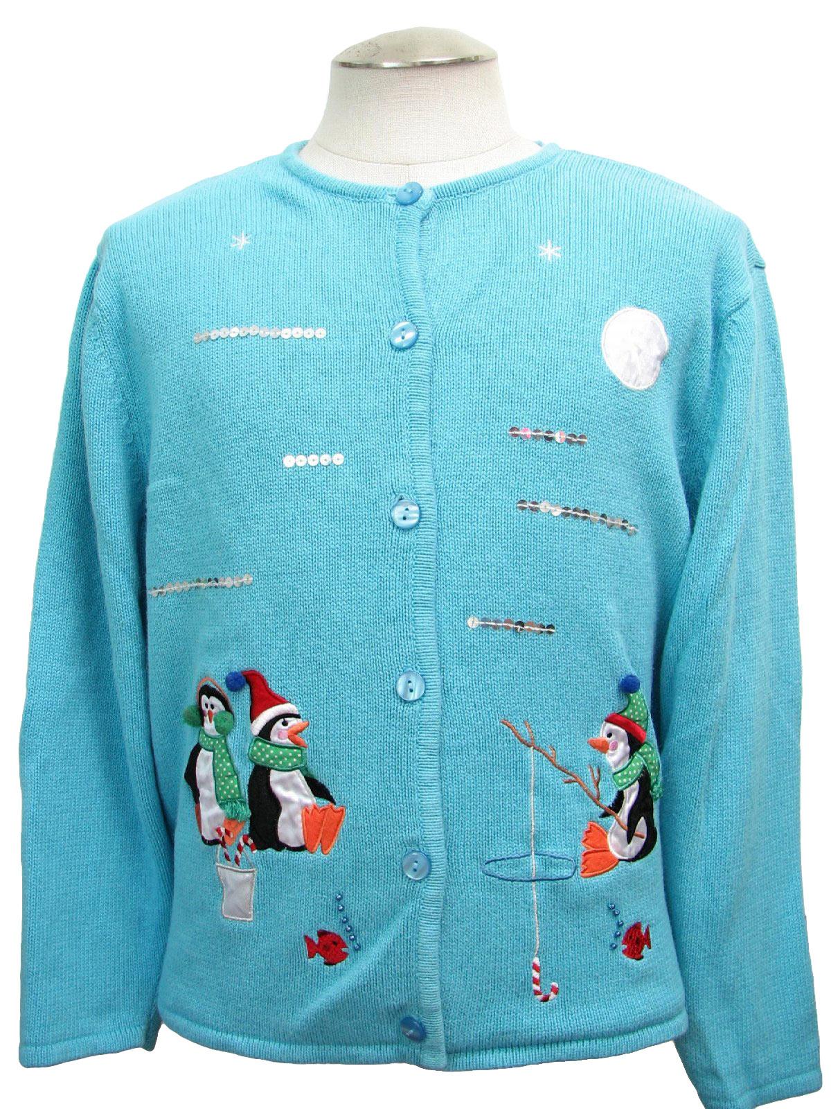 Womens ugly christmas sweater crystal kobe womens light for Fishing ugly christmas sweater