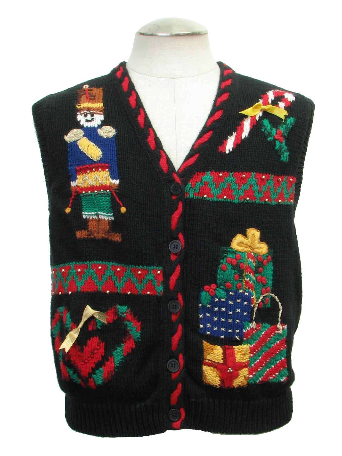 Christmas sweater vest candy cane with bow drummer boy presents and