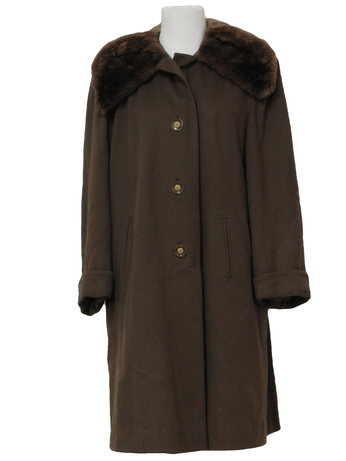 Retro 50s Jacket (Macys)  50s -Macys- Womens Dark Taupe And Shades Of Brown Wool Blend With ...