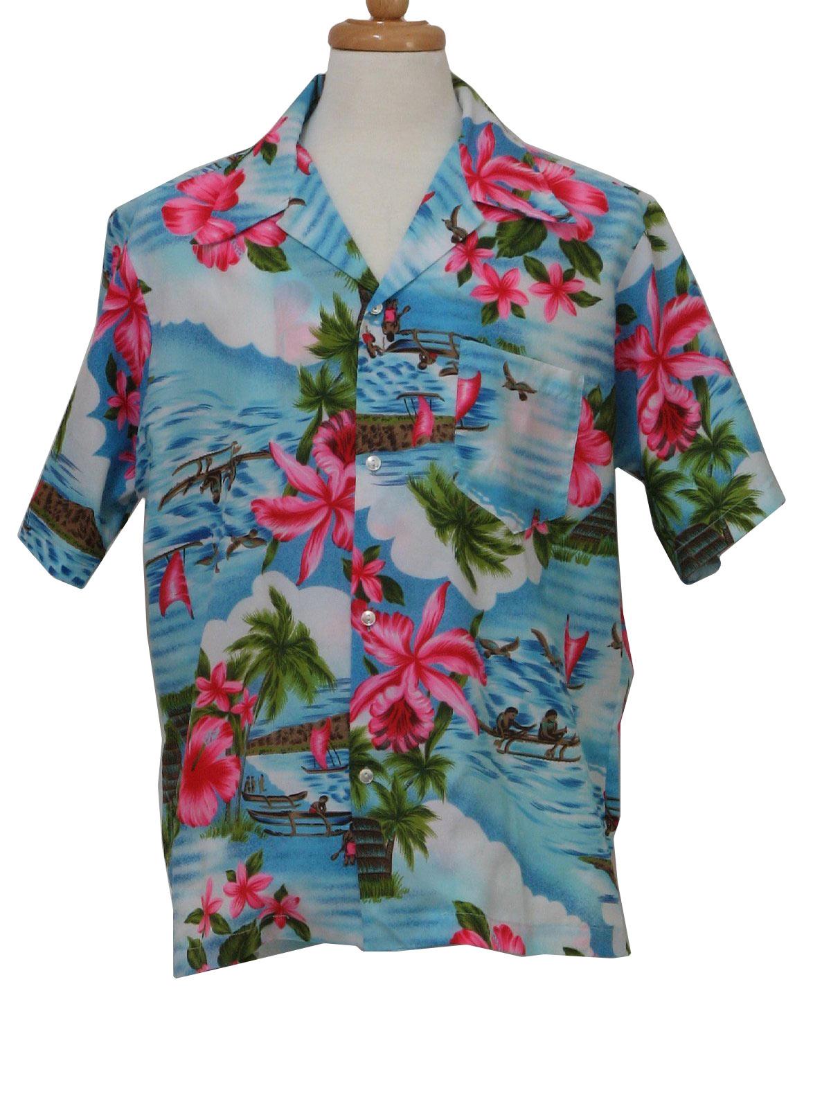 Retro 1980s Hawaiian Shirt Hawaii 80s Hawaii Mens