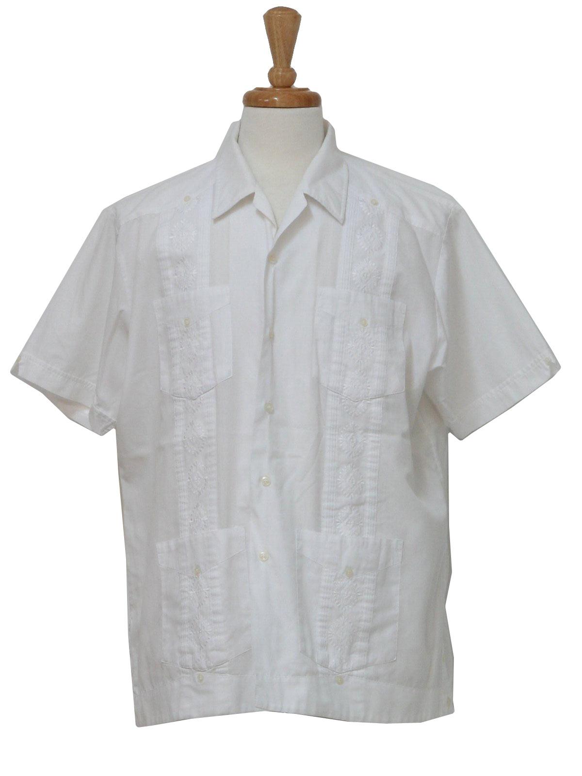 1980's Retro Guayabera Shirt: 80s -Premier- Mens white ...