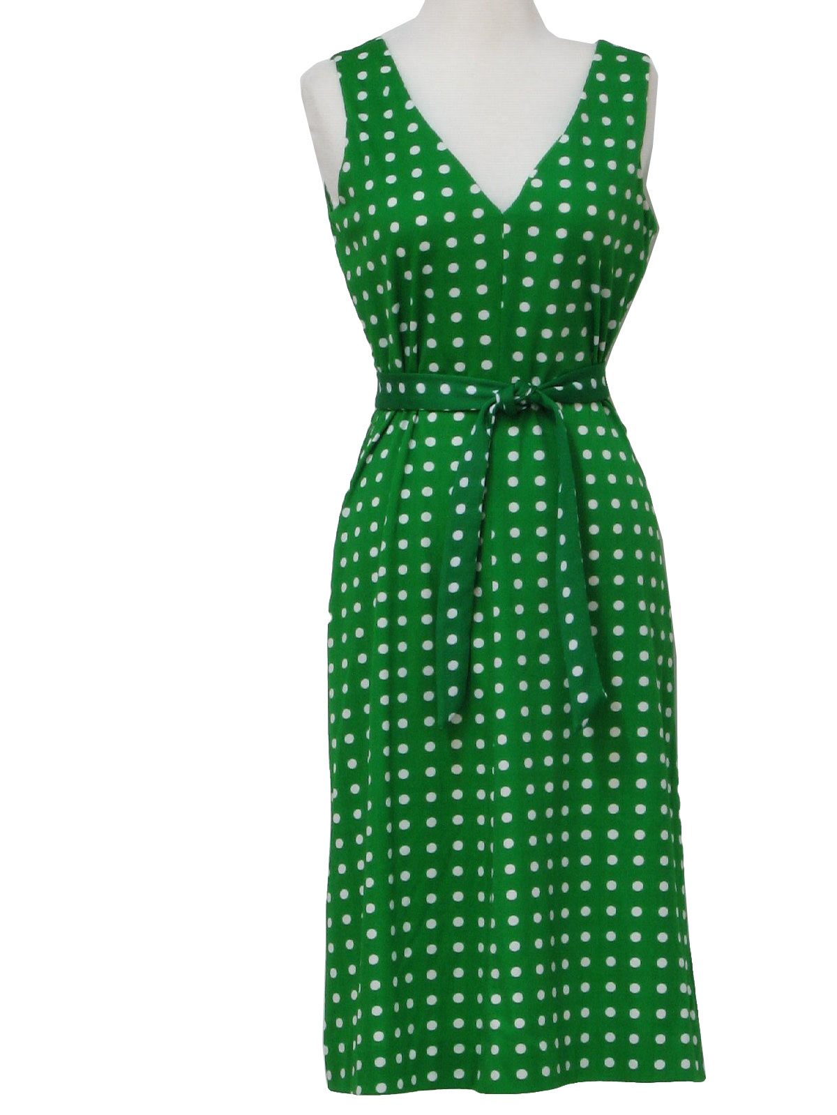 1970's Retro Dress: 70s -Missing Label- Womens green and white ...