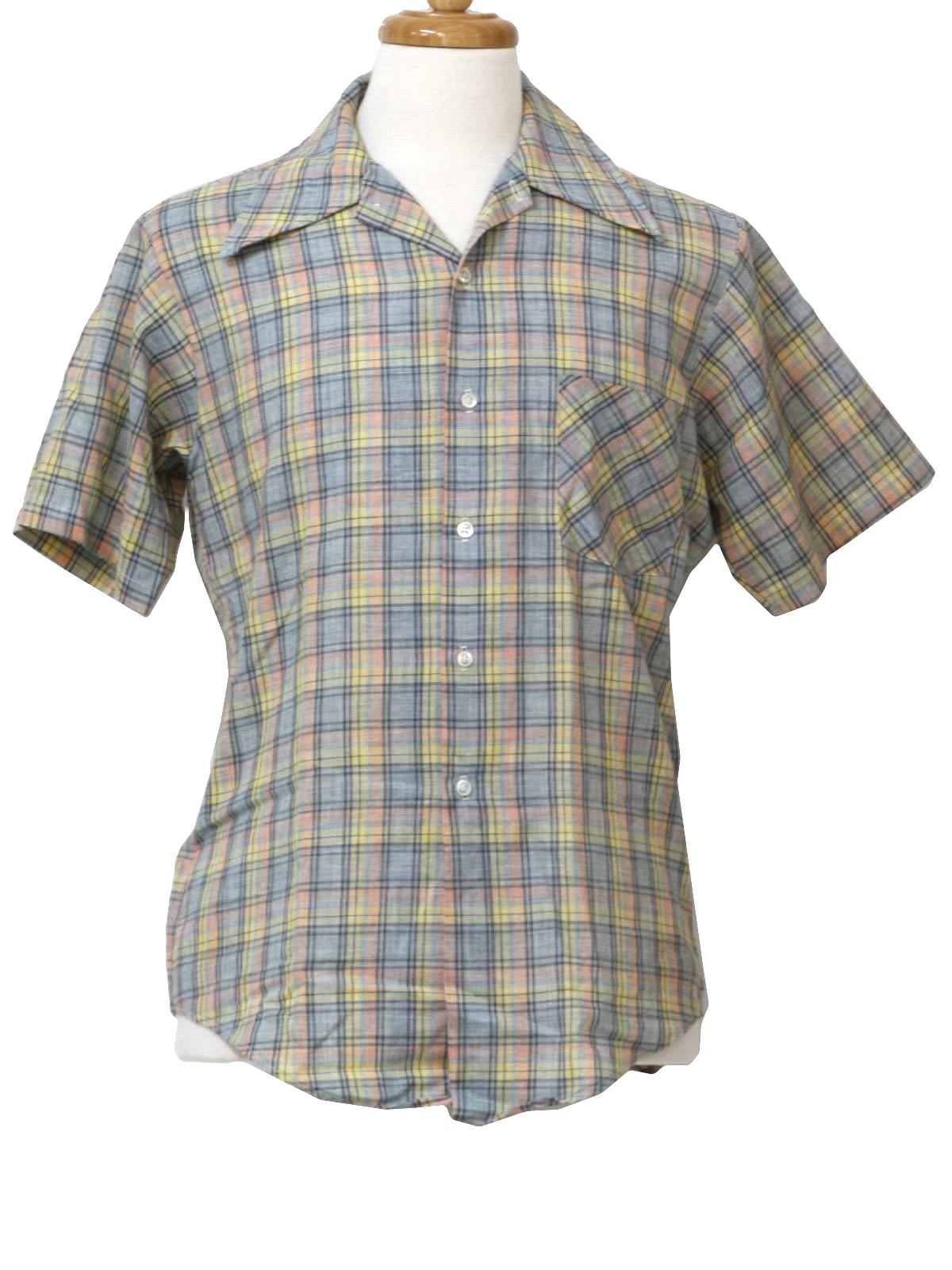 Vintage kmart 1970s shirt 70s kmart mens slate blue for Kmart button up shirts