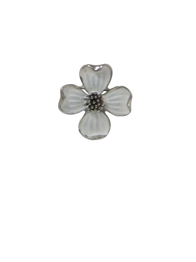 50s Vintage Missing Mark Pin  50s -Missing Mark- Womens white painted  silver tone pin back floral enamel brooch with pendant option for  transitional ease ... 874cd13363