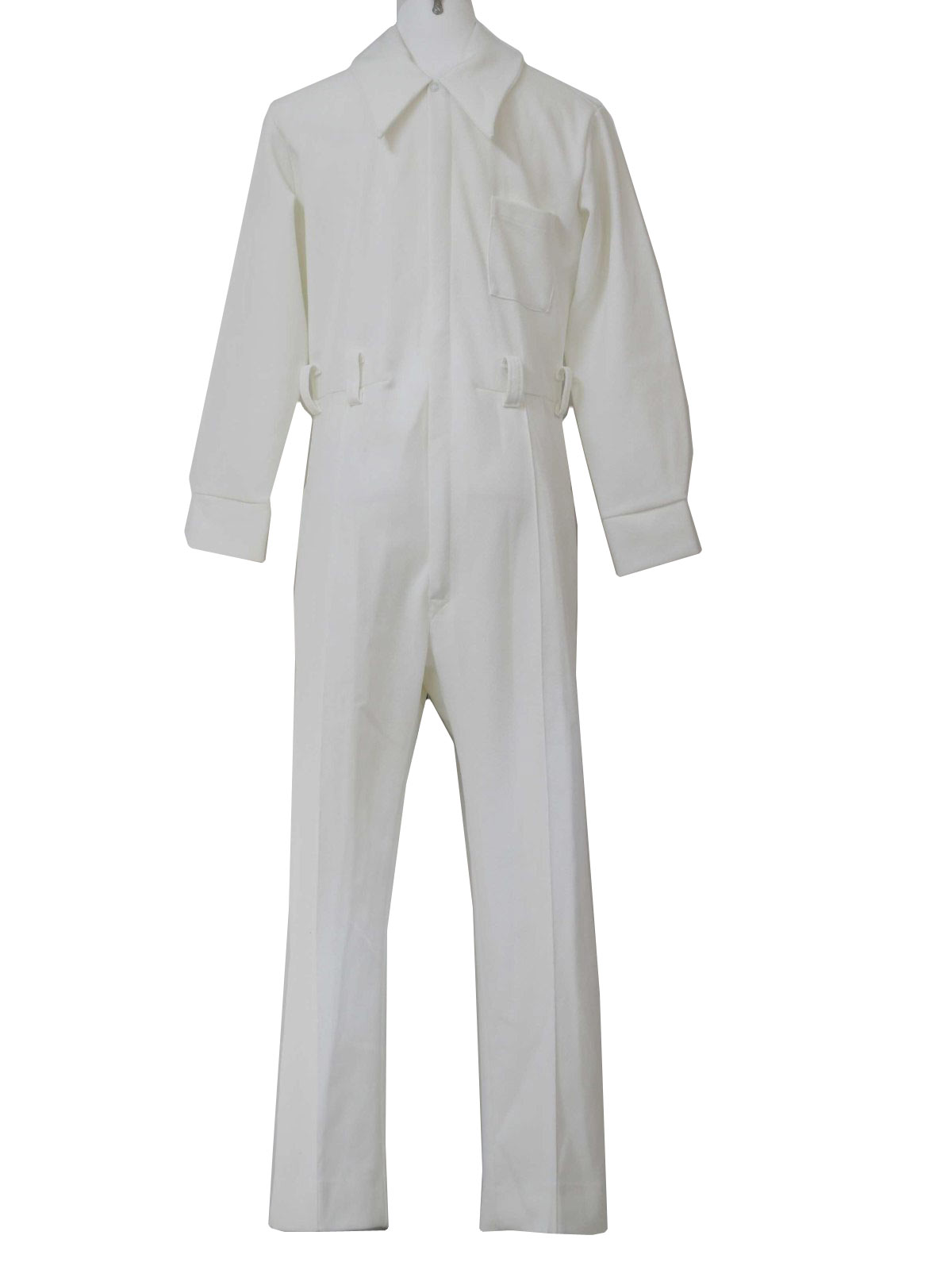a77e6dbe38a Retro 70 s Suit  70s -LeVoys- Mens solid white double knit polyester ...