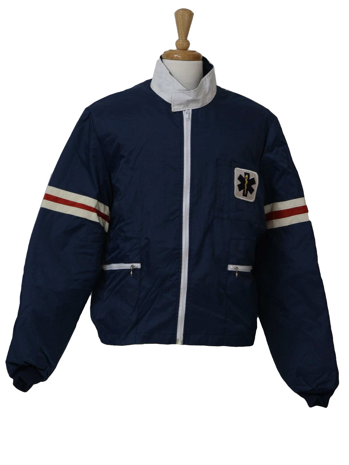 Retro 1980s Jacket 80s Dynamed Mens Blue Zip Front