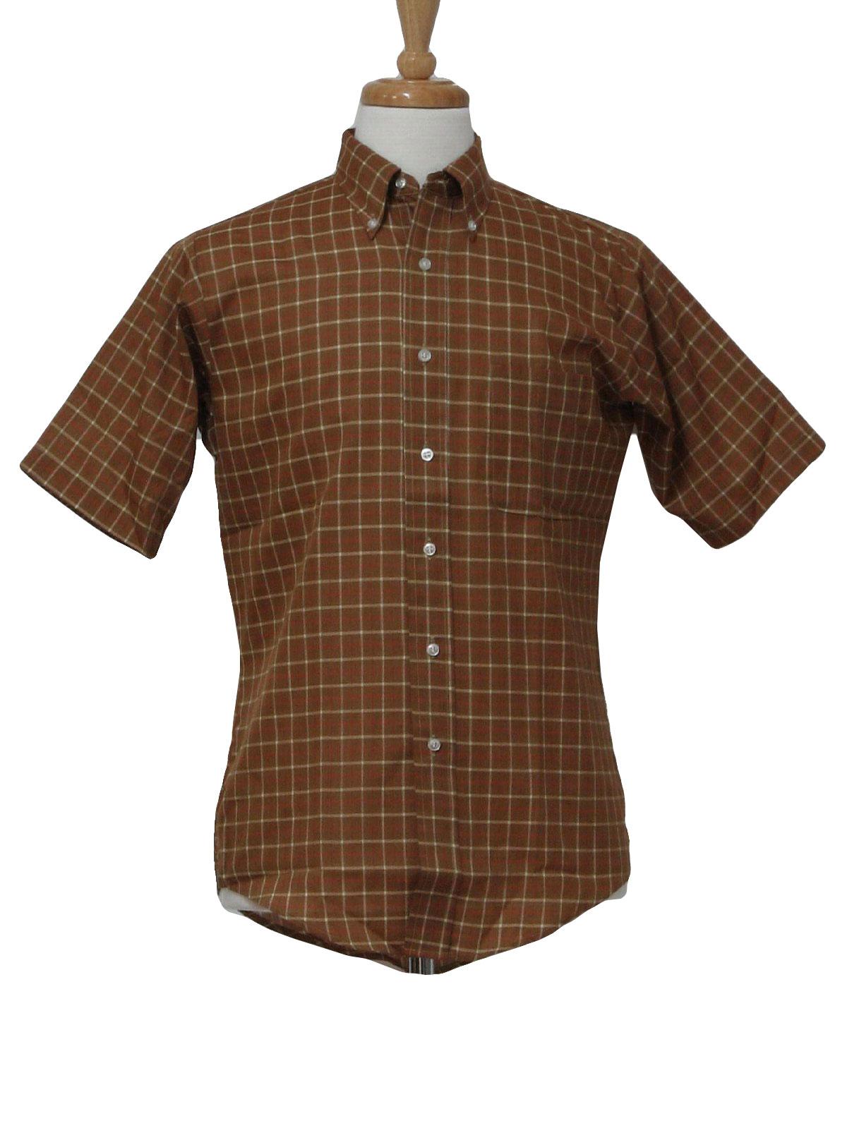 1960s Shirt Puritan Early 60s Puritan Mens Sandy Brown Red