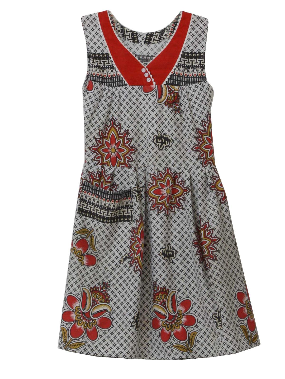 60 S Mini Dress 60s No Label Womens Juniors White