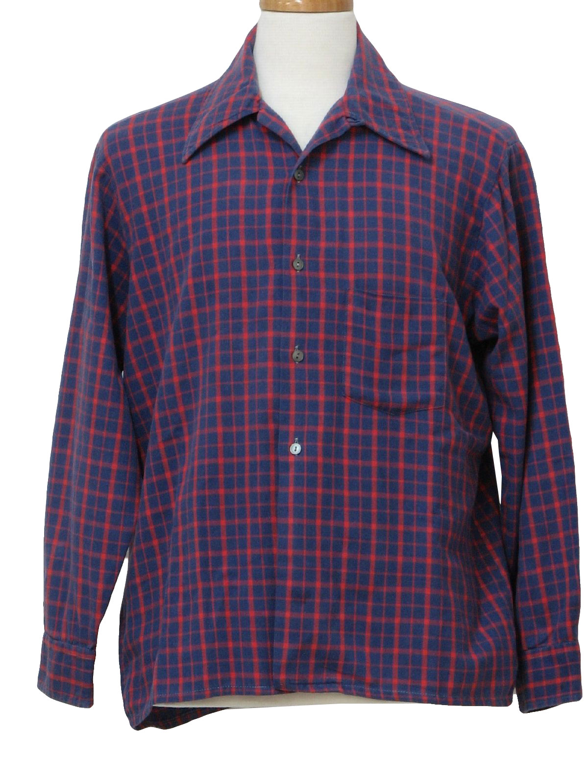 Vintage 1960 39 s shirt late 60s towncraft jc penney mens for Cotton polyester flannel shirts