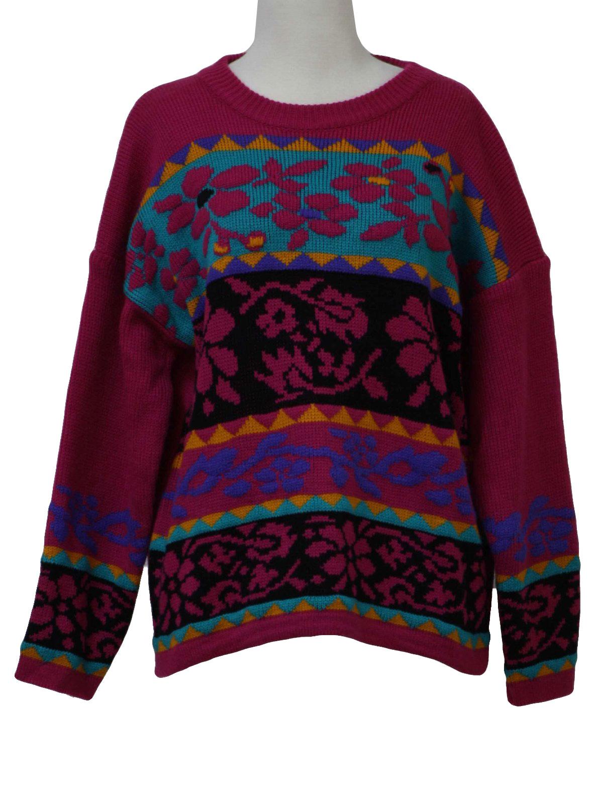 Gitano 1980s Vintage Sweater 80s Gitano Womens Fuchsia