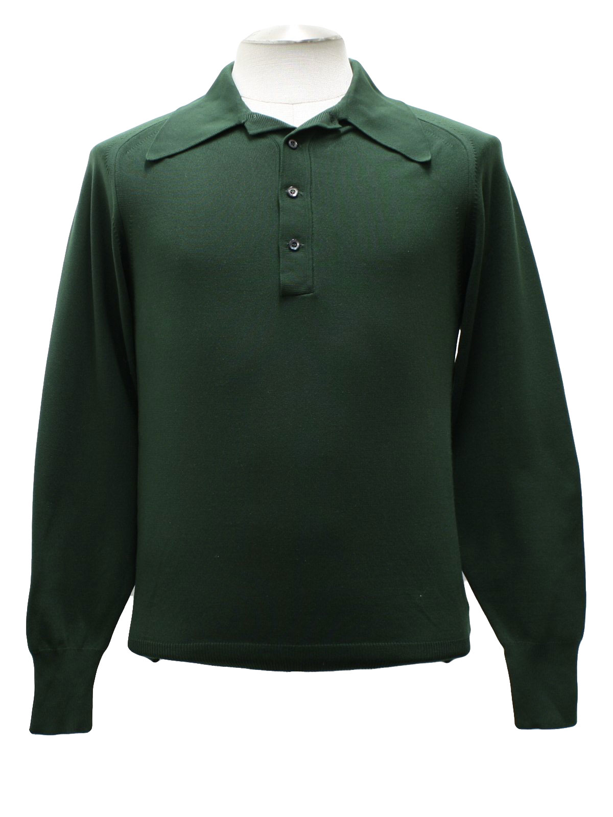 1970s Knit Shirt: 70s Puritan- Mens dark green longsleeve pullover ...