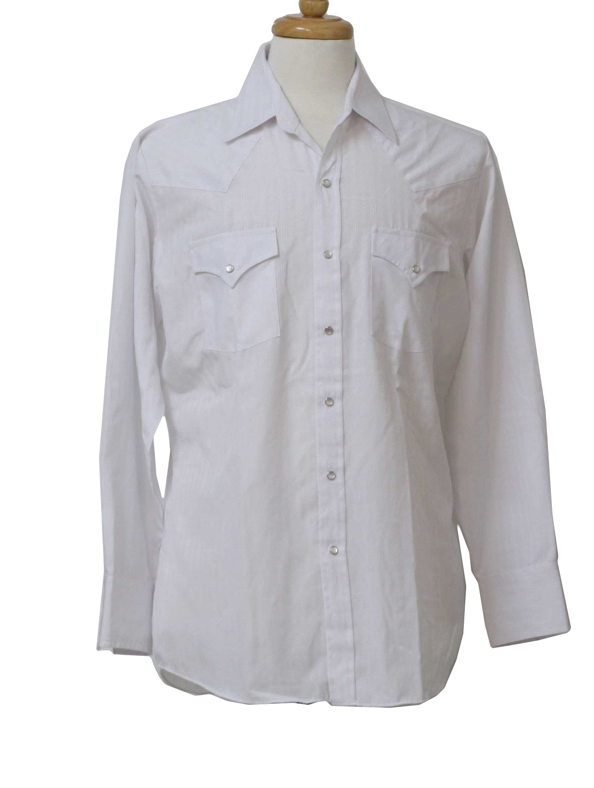 1980s Vintage Ely Western Shirt 80s Ely Mens Shaded Starch White