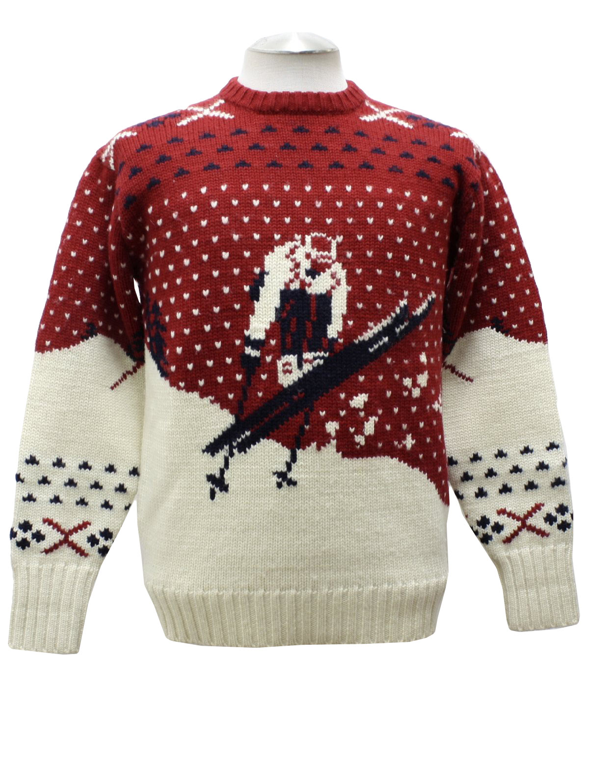 Retro 80\u0027s Sweater: 80s vintage -Polo by Ralph Lauren- Mens red white and black  pullover style wool ski sweater with old school intarsia knit ski jumper,  ...