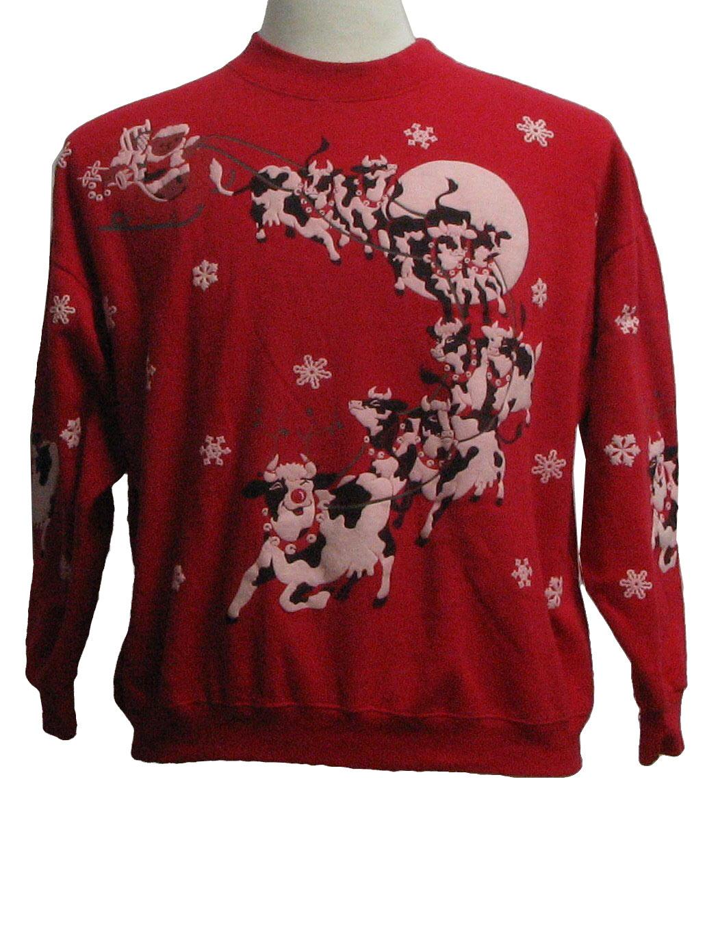Vintage Spumoni 1980s Ugly Christmas Sweatshirt 80s Authentic