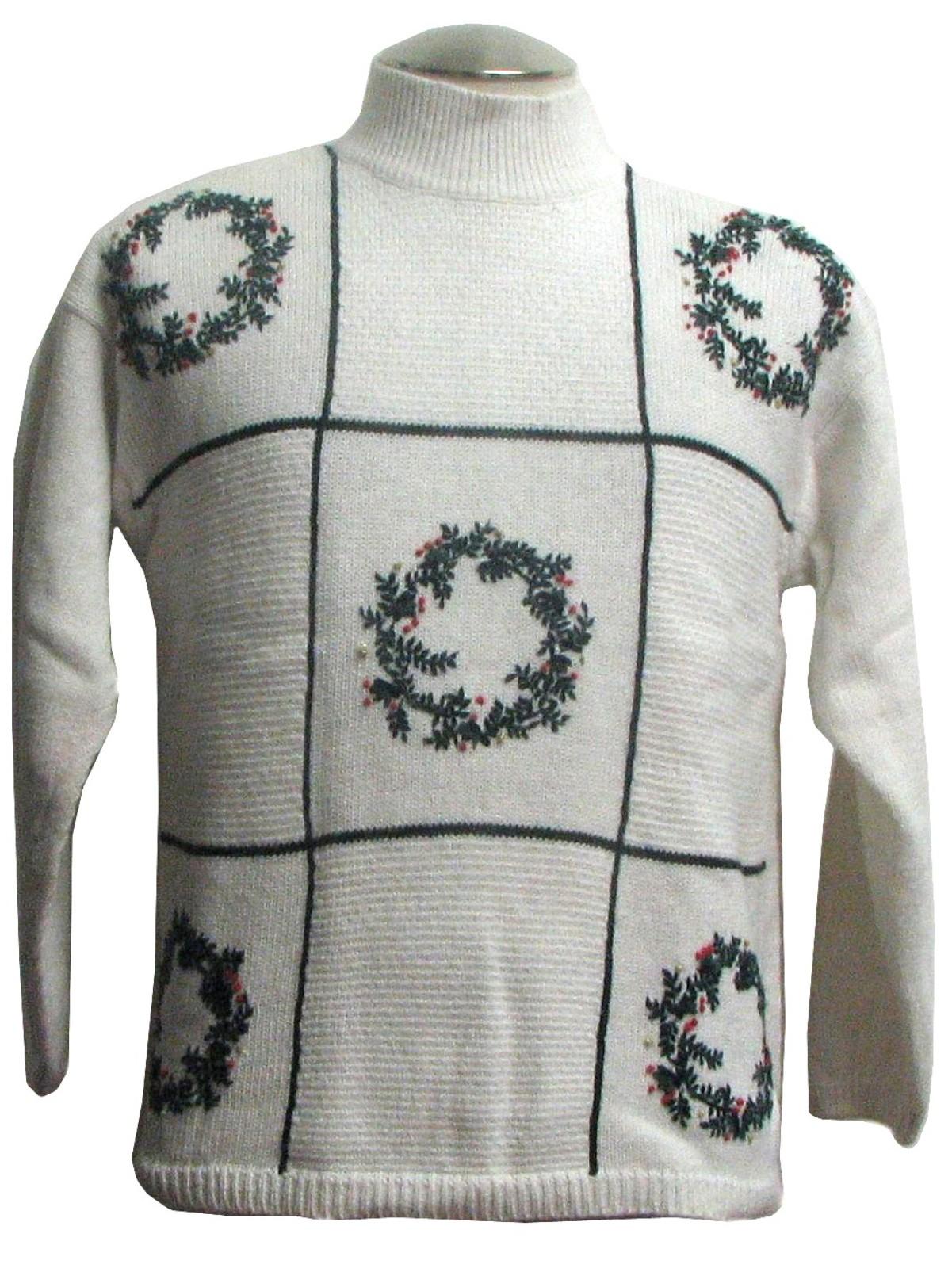 Womens Ugly Christmas Sweater: -Milano- Womens white ramie cotton ...