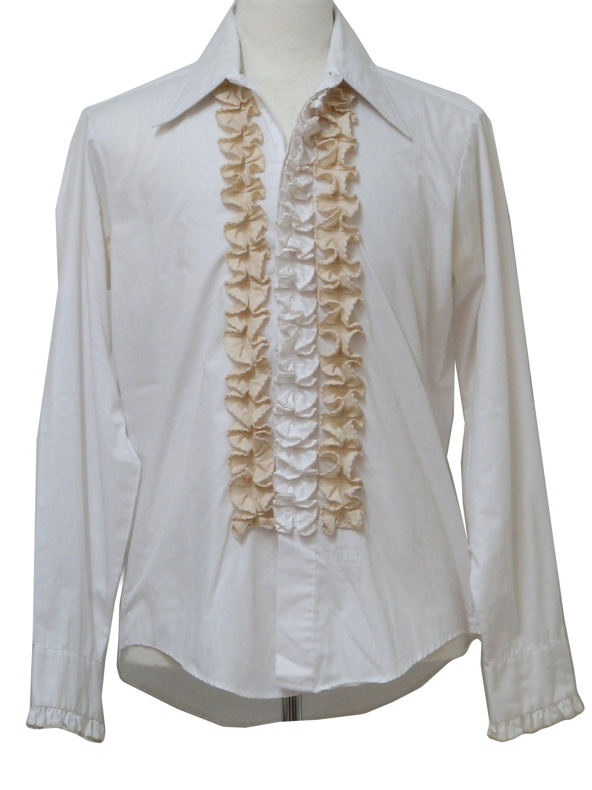 Retro 1970s shirt 70s palm beach mens white and buff for Mens shirts with cufflink holes