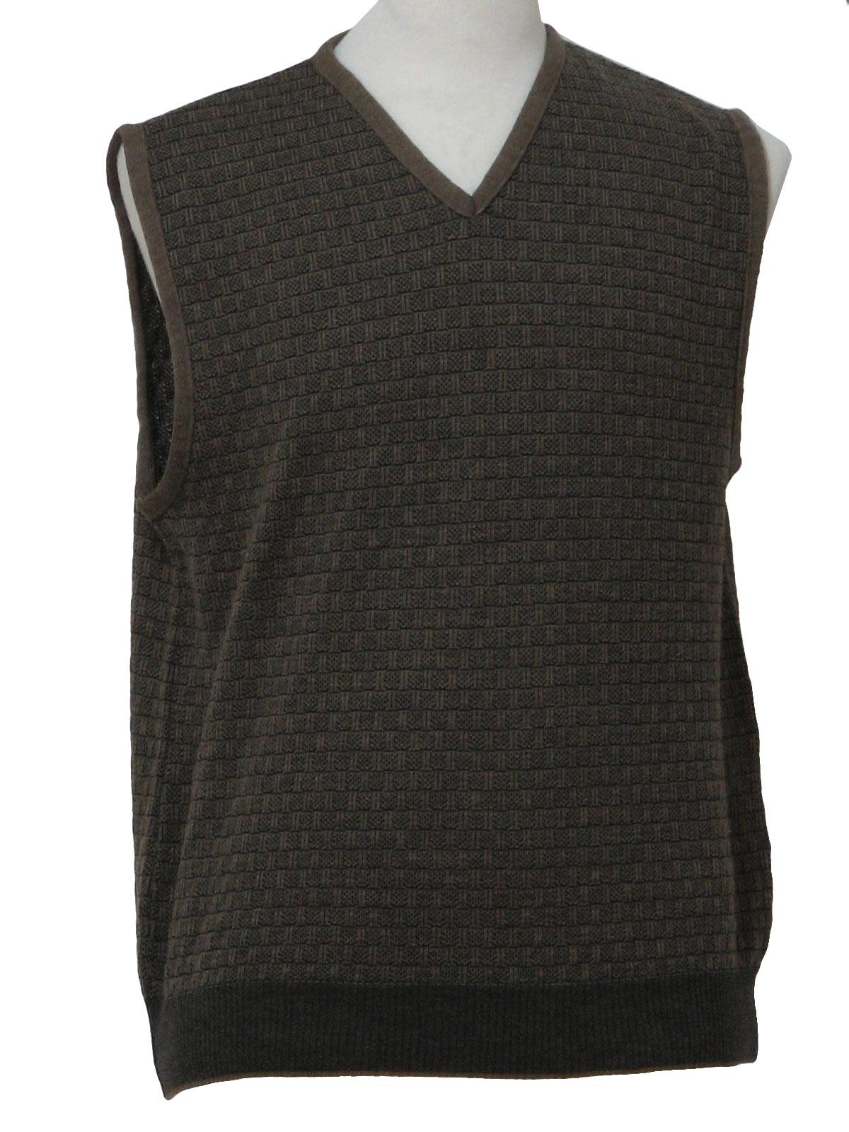 Basket Weave Vest Pattern : Segreto s vintage sweater mens taupe and