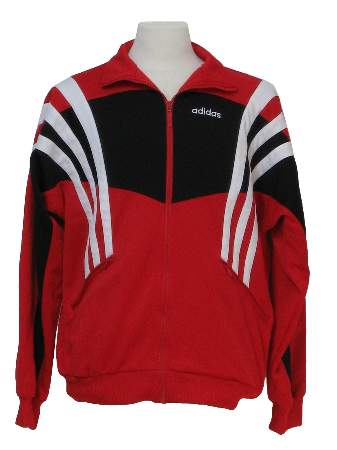 Red black and white adidas jacket