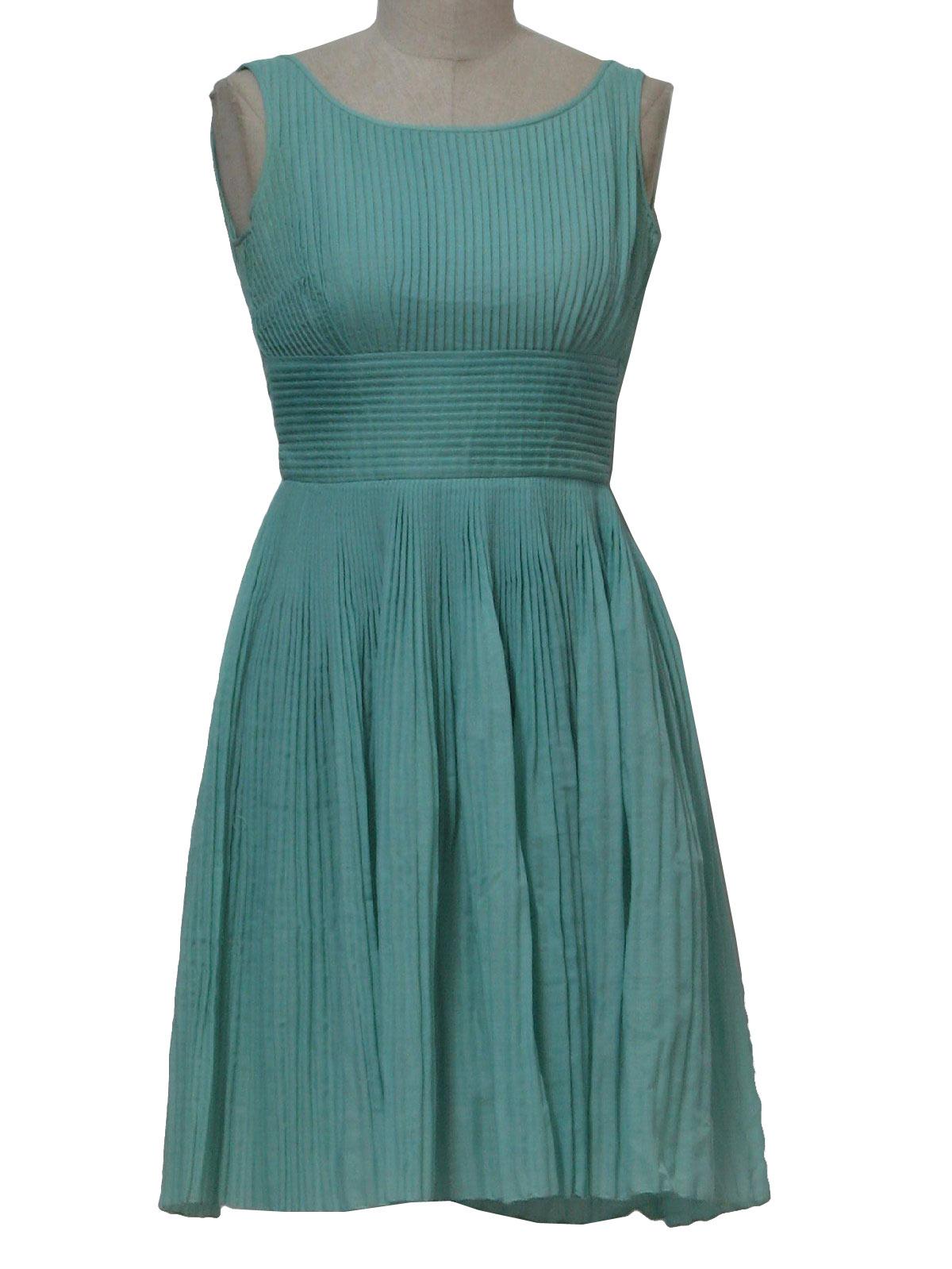 Vintage Laiglon Fifties Dress: 50s -Laiglon- Womens light blue mid ...