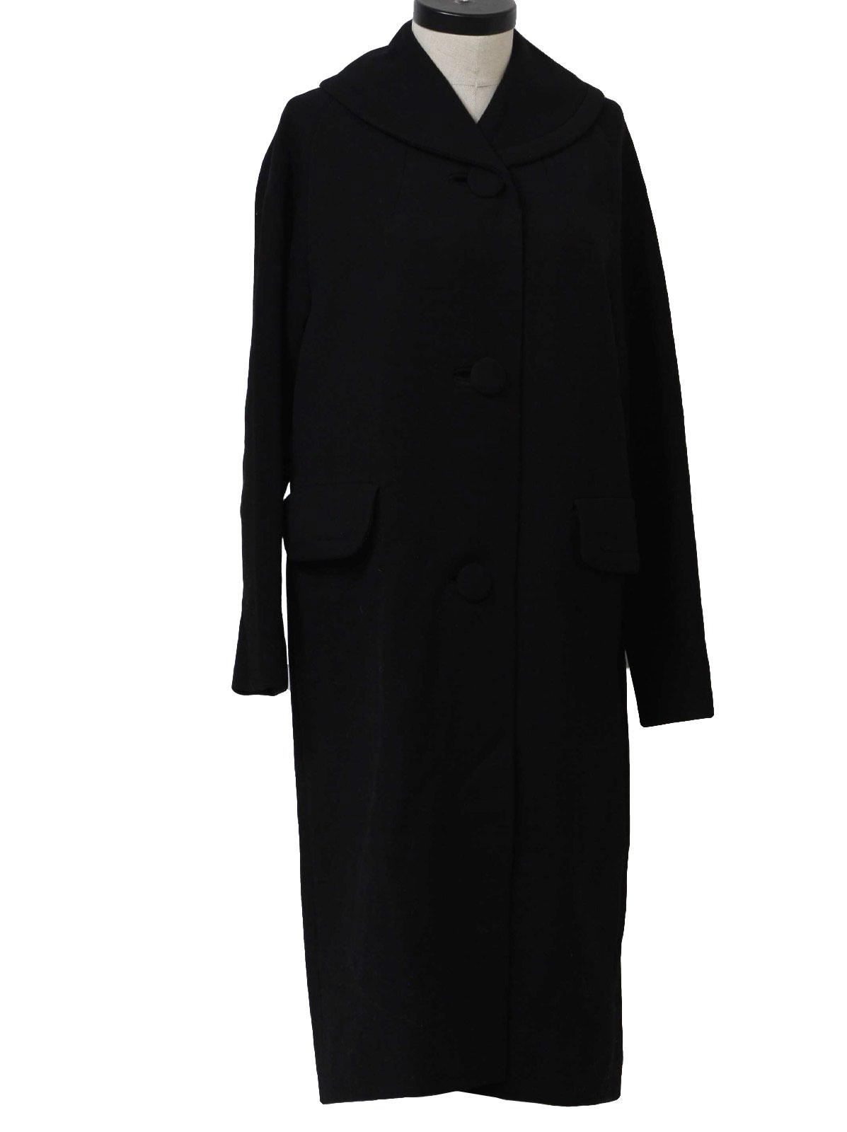 Vintage 50s Jacket: 50s -Crestmoor- Womens black wool mid length ...