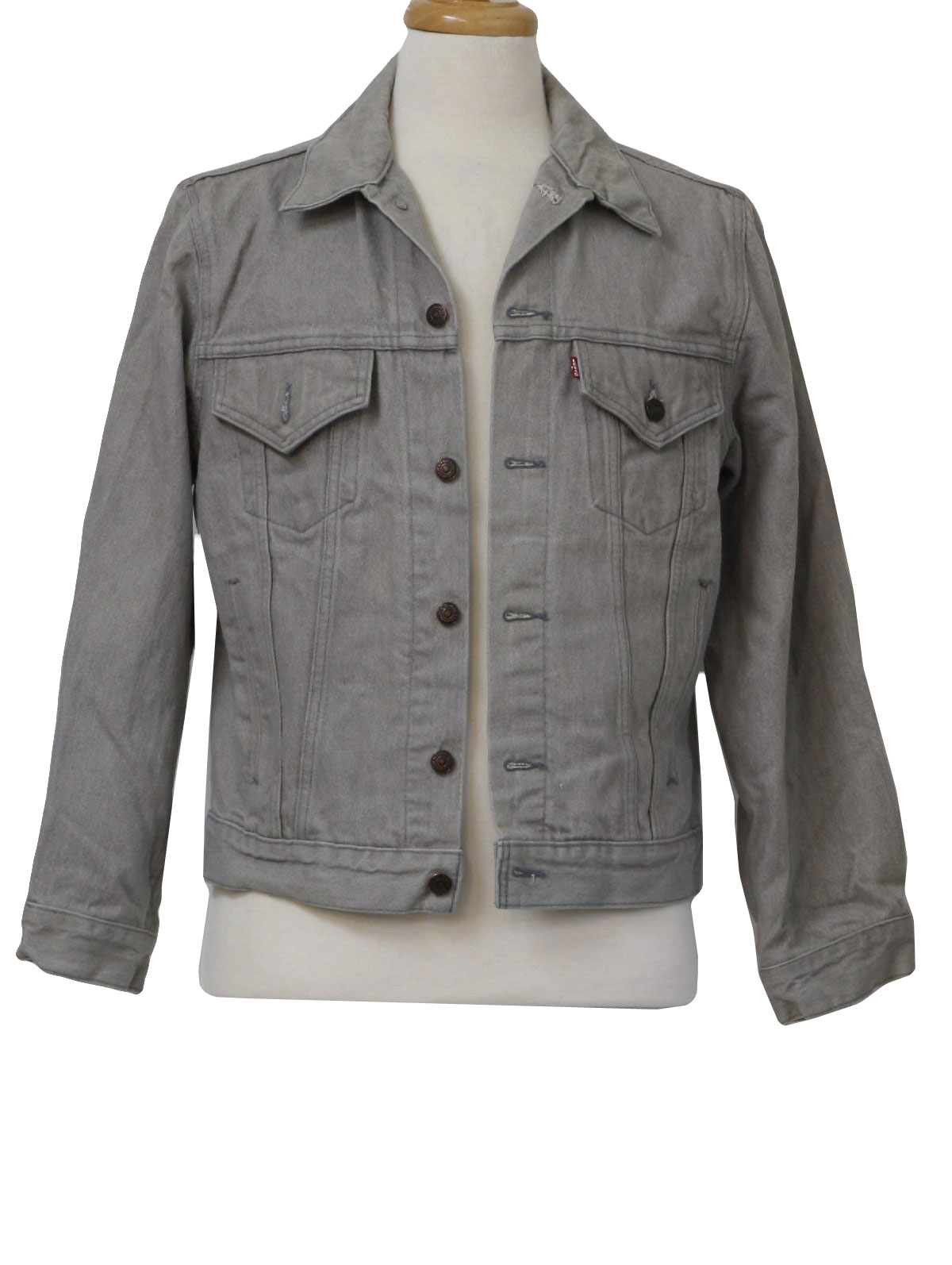 1980's Retro Jacket: 80s -Levis- Mens grey cotton denim button ...
