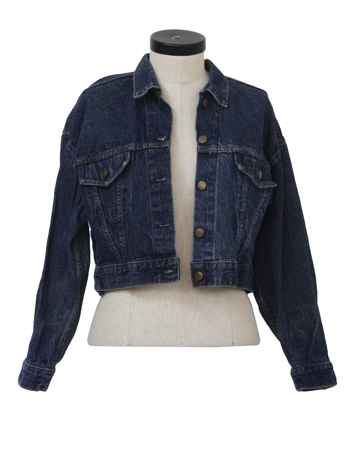 80s Retro Jacket: 80s -Levis- Womens dark blue cotton denim button ...