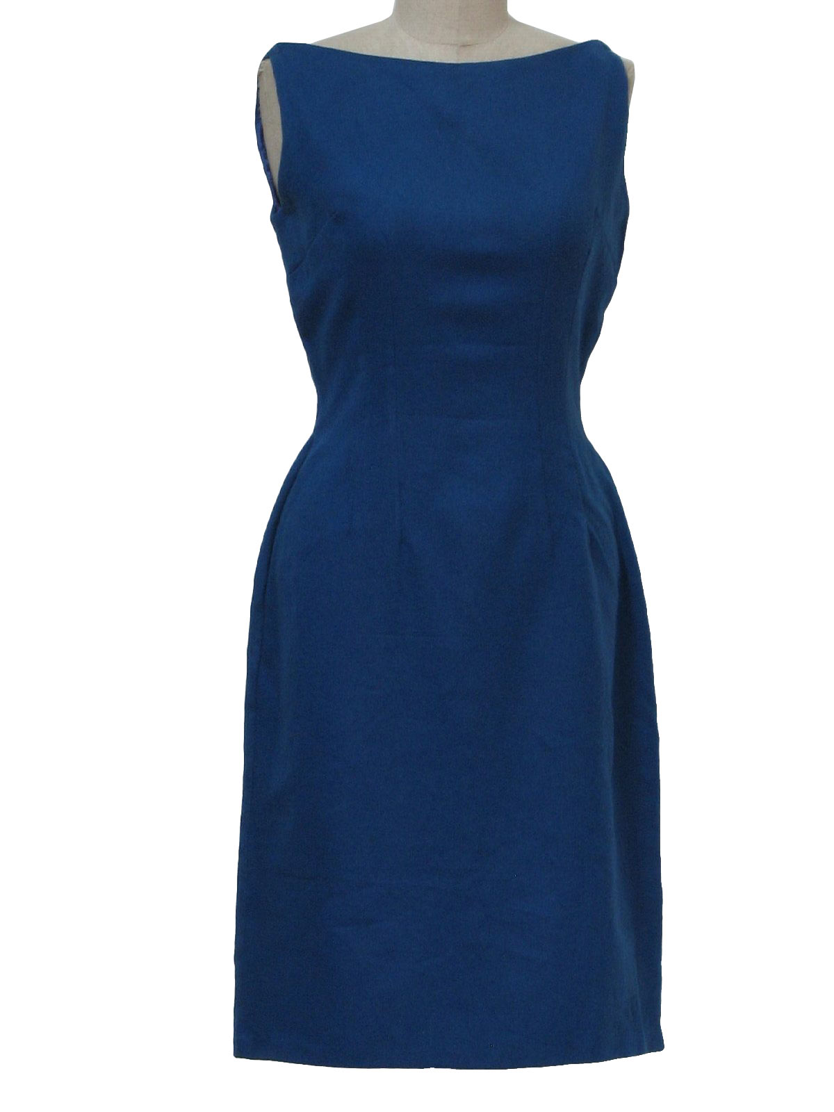 Retro Fifties Cocktail Dress: 50s -Size Label- Womens blue wool mid ...