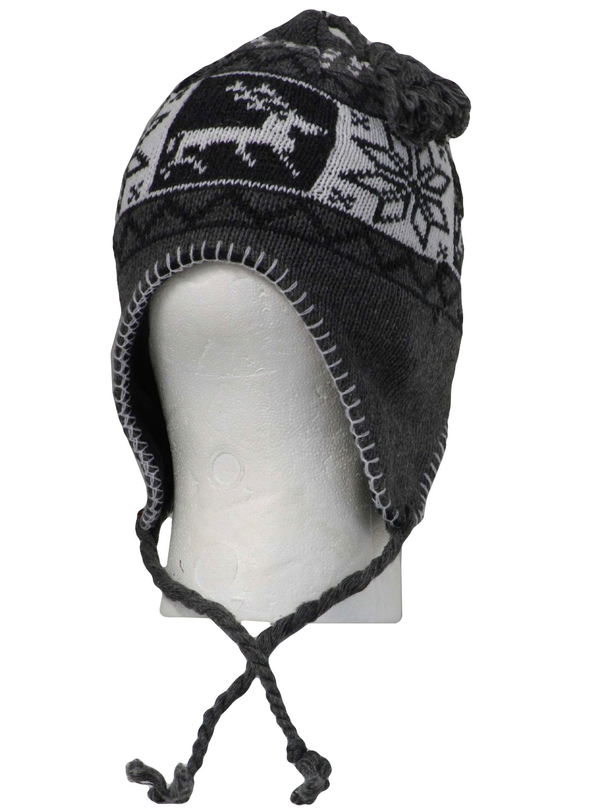 5e97776f7ef50 Christmas Snowflake Ear Flap Knit Hat  (made new recently) -Winter ...