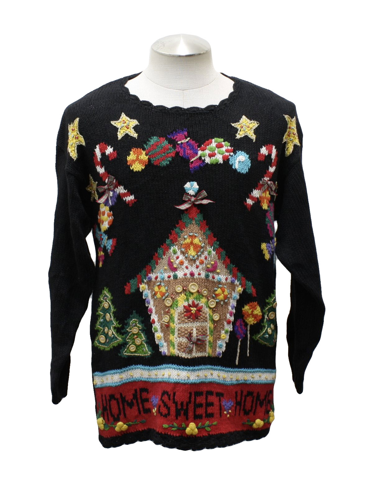 Womens Kitschy Gingerbread House Ugly Christmas Sweater: -Beldoch ...