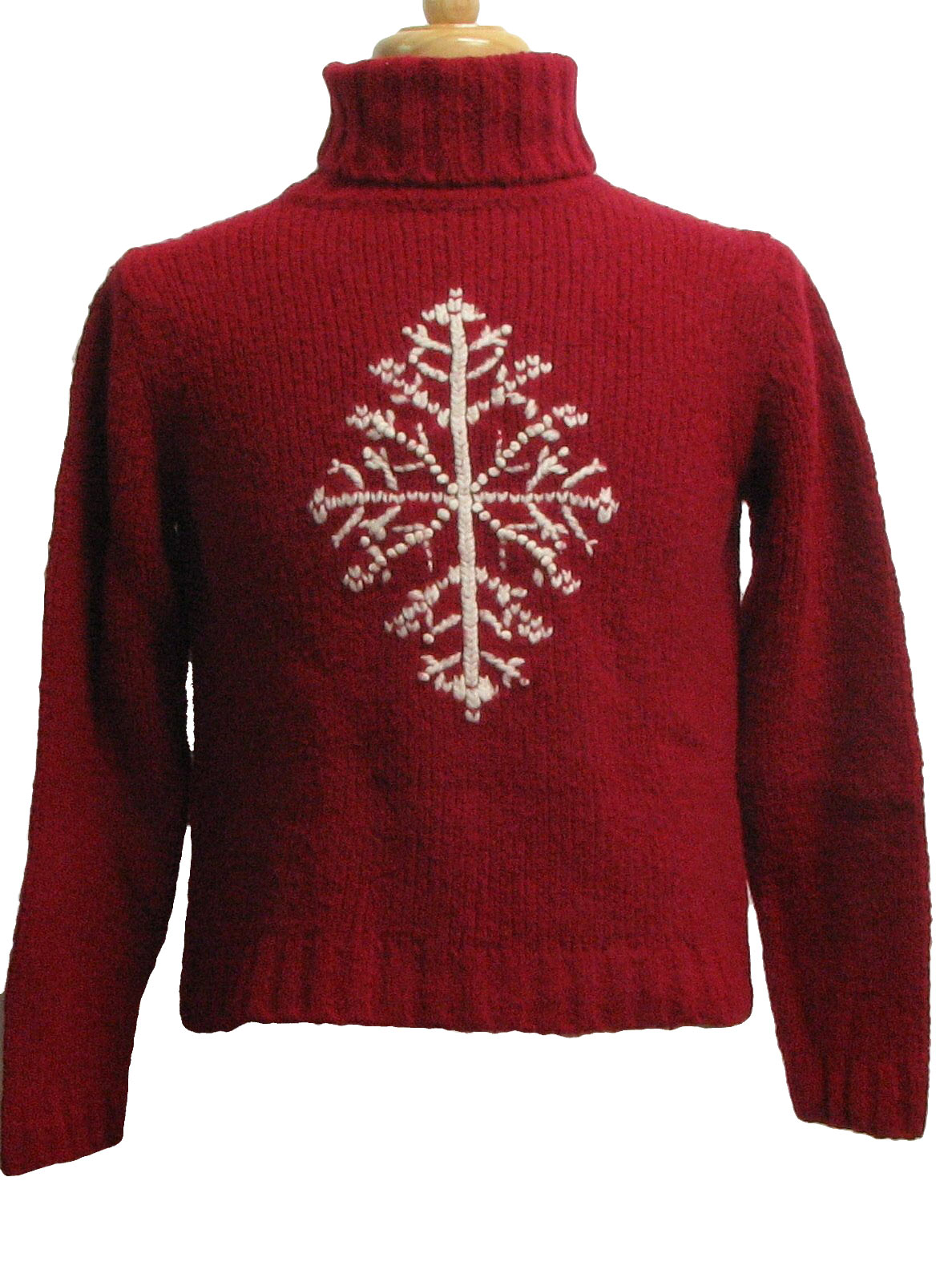 womens ugly christmas sweater ann taylor womens wine and white single snowflake design wool acrylic and nylon longsleeve pullover waist cropped fit