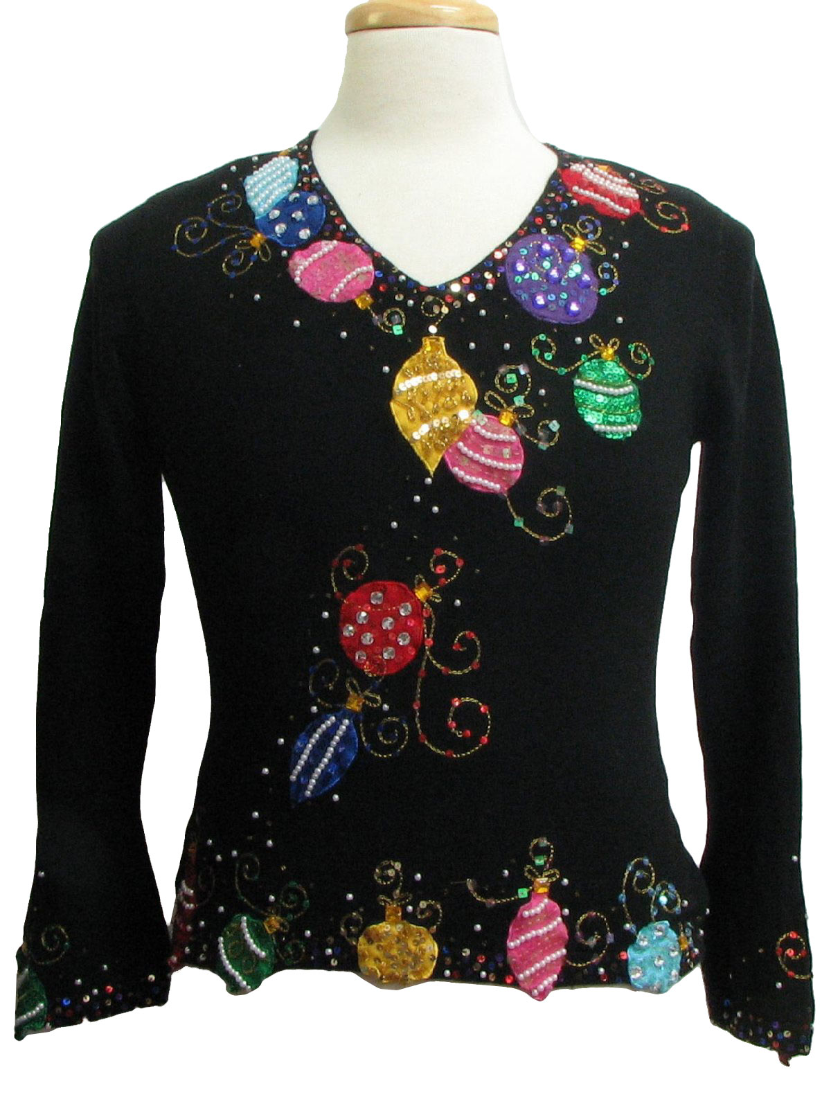 Womens Ugly Christmas Sweater Just B Womens Black Rayon
