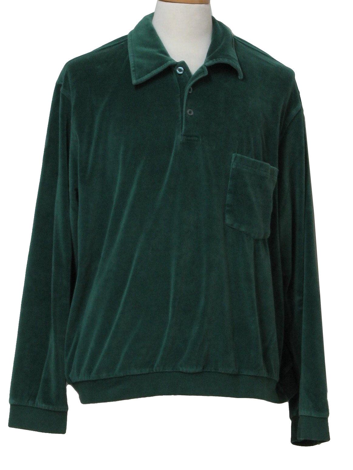 John Blair 1990s Vintage Velour Shirt 90s John Blair