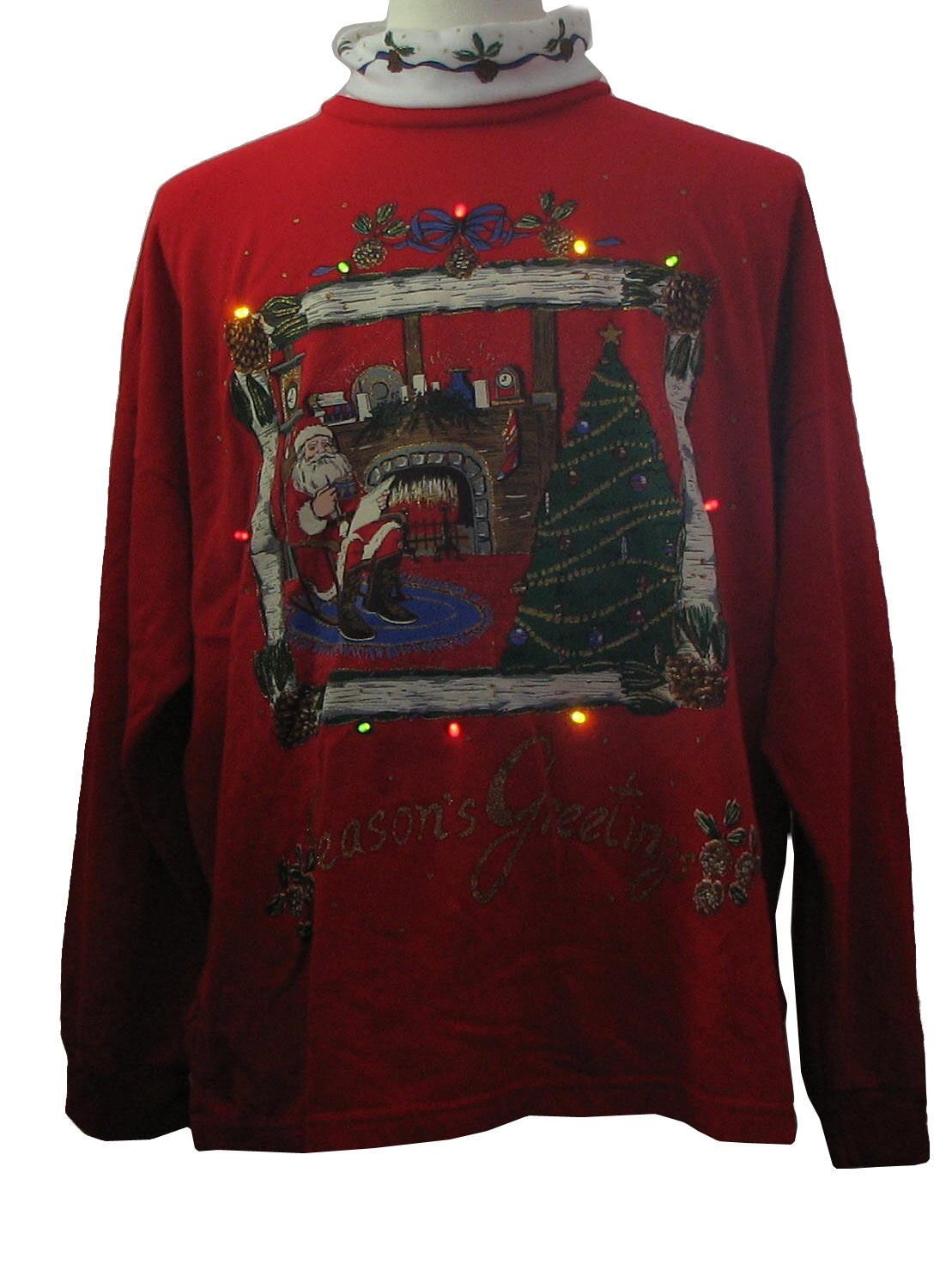 1980s Vintage Ugly Christmas Sweatshirt With Added Multi