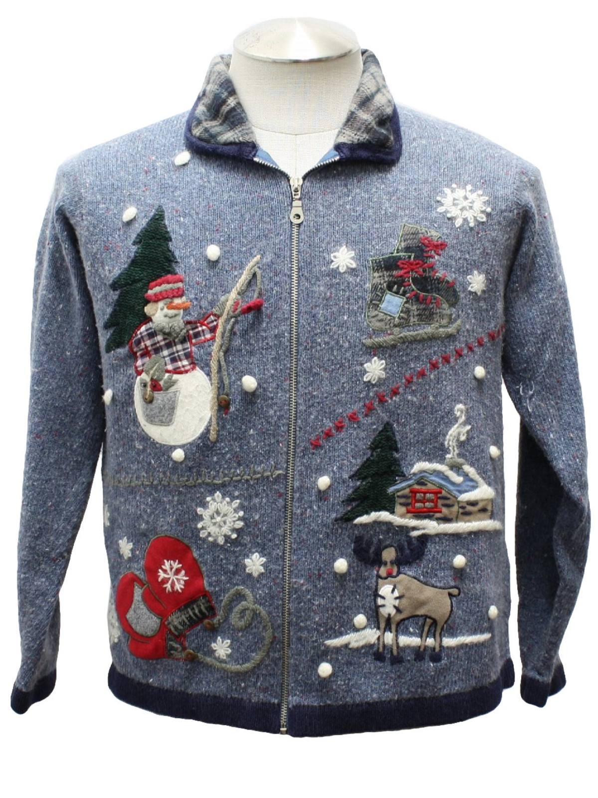 Womens country kitsch ugly christmas sweater victoria for Fishing ugly christmas sweater