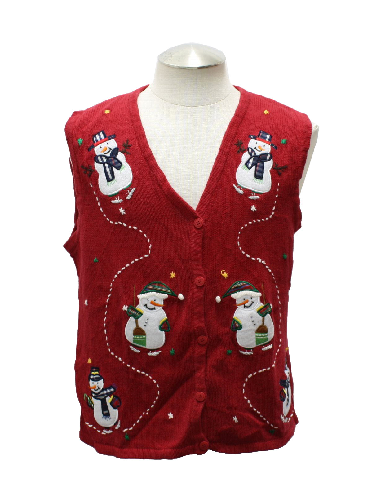 Ugly Christmas Sweater Vest: - Unisex red ramie and cotton ...