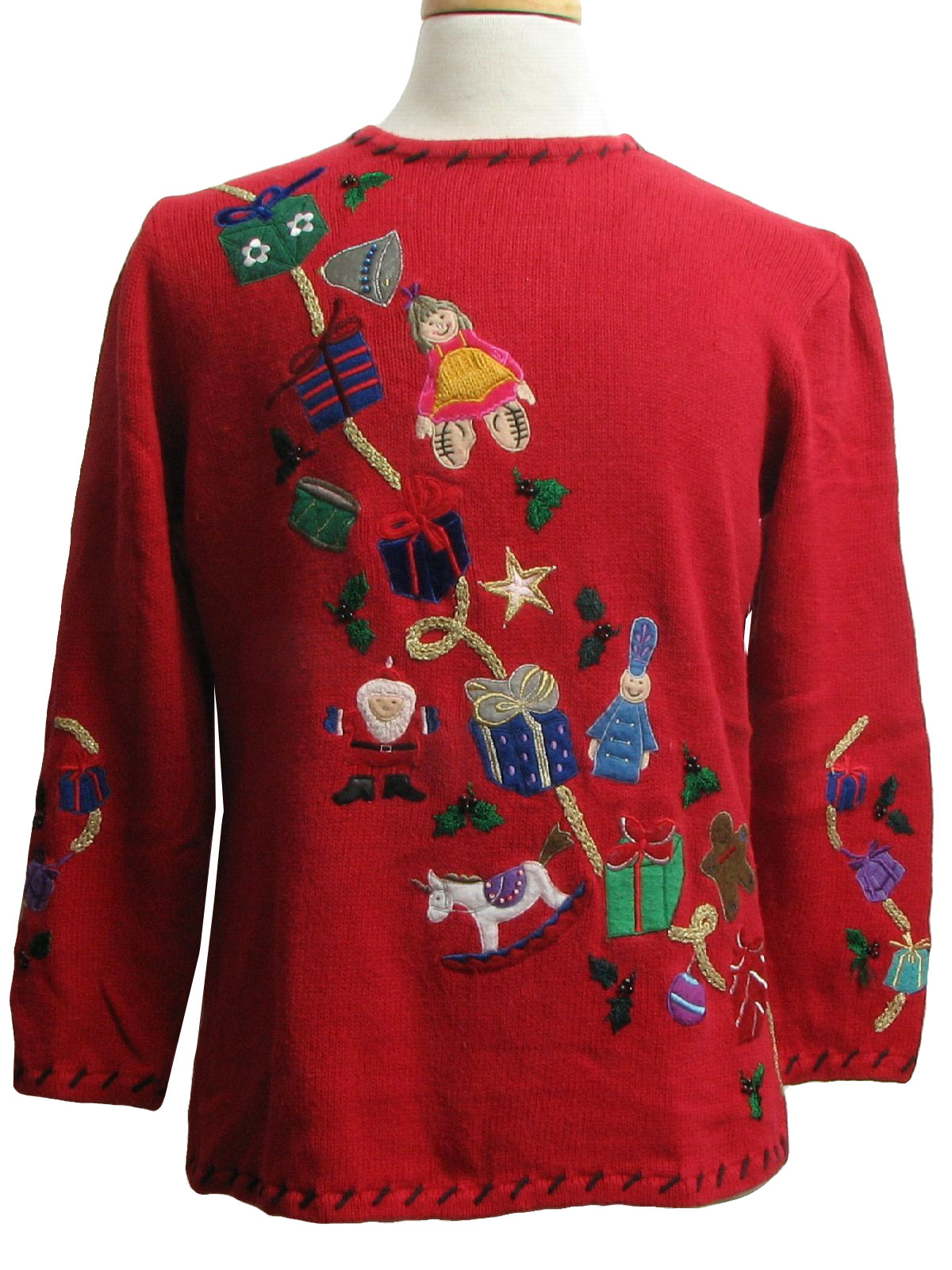 Womens ugly christmas sweater rebecca malone womens red for Over the top ugly christmas sweaters