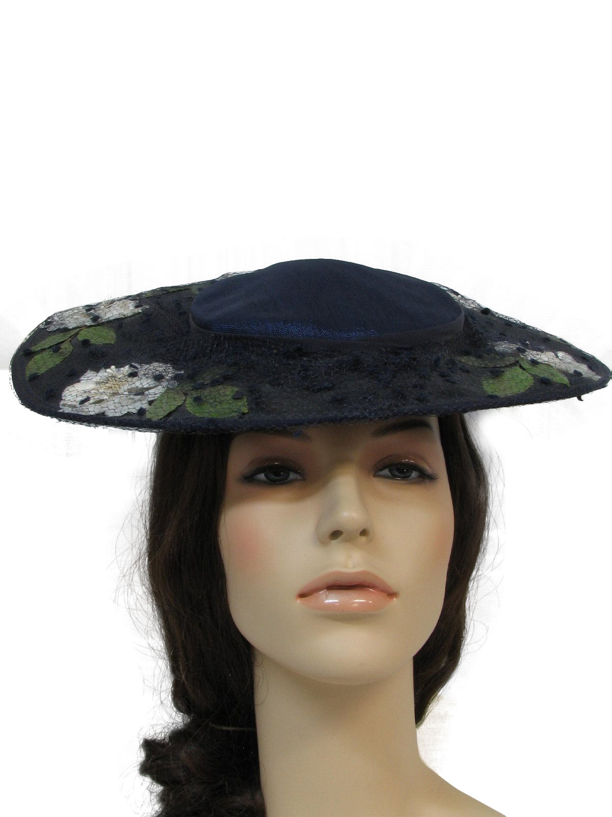 no label 1950s vintage hat 50s no label womens navy