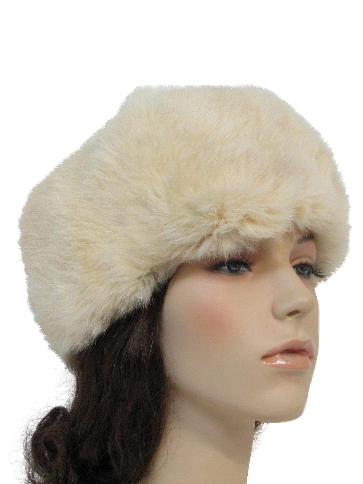Vintage 1980 s Hat  80s -Chao Yang- Womens ivories genuine rabbit ... 4a3f9af34