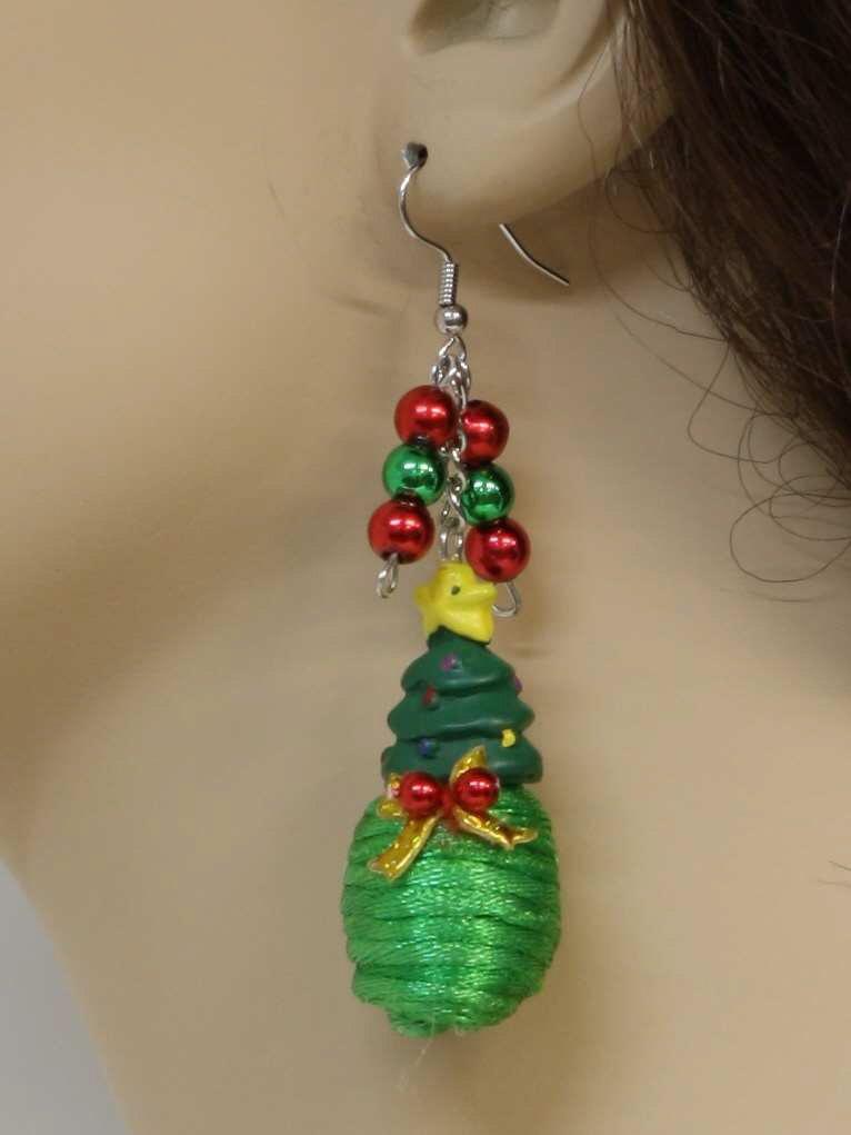 womens christmas tree jewelry earrings christmas chearrings womens set of christmas trees dangling loop earrings with plastic christmas tree on top and - Plastic Christmas Tree