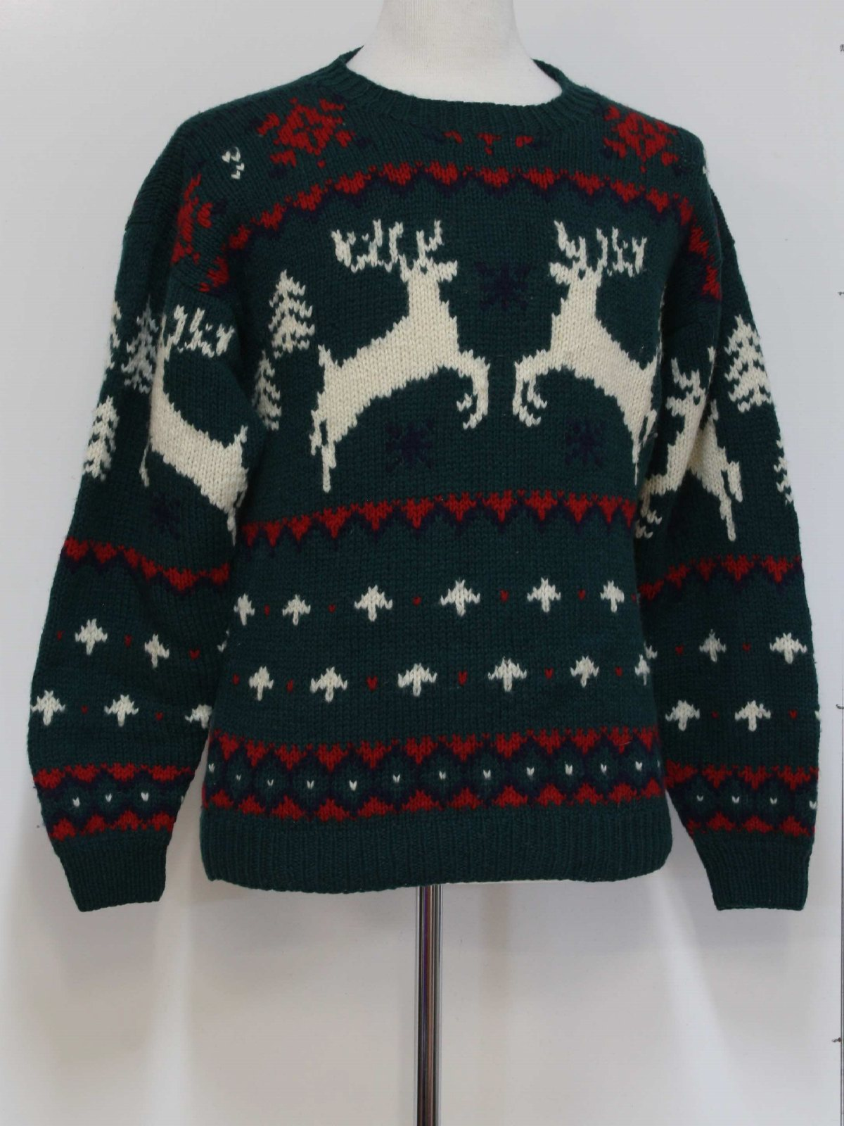 Mens Classic Reindeer Ugly Christmas Sweater: Classic (made in 90s ...