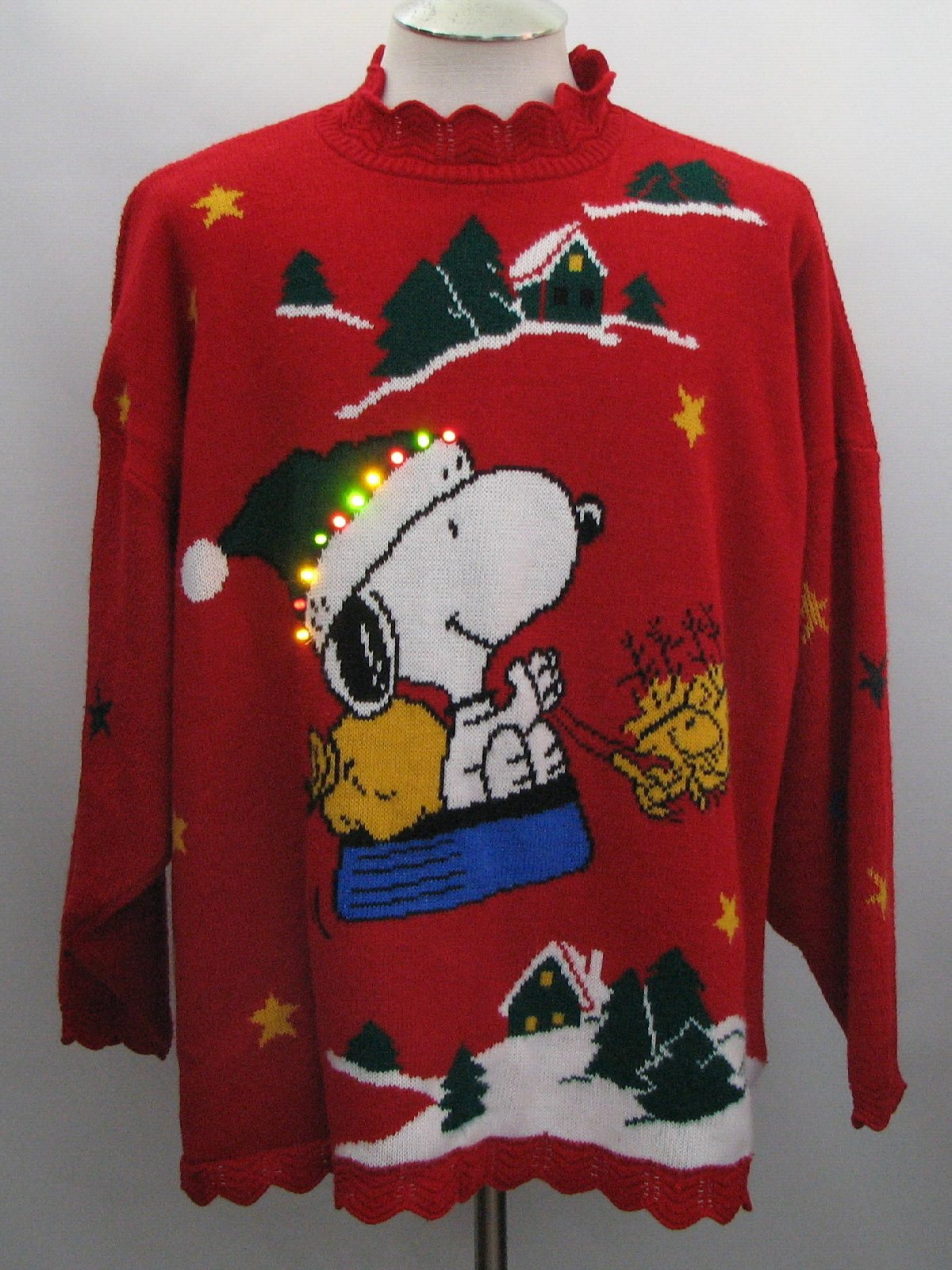 80s Ugly Christmas Multicolored Light Up Christmas Sweater