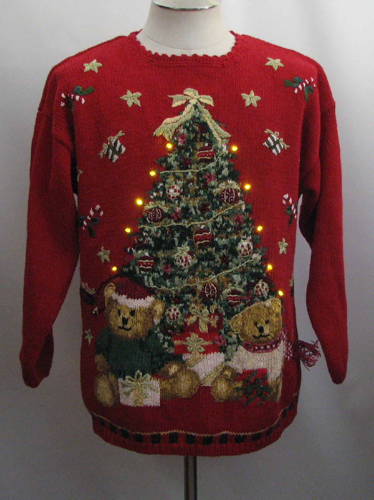 Bear-Tastic Ugly Christmas Golden Amber Light-Up Christmas ...