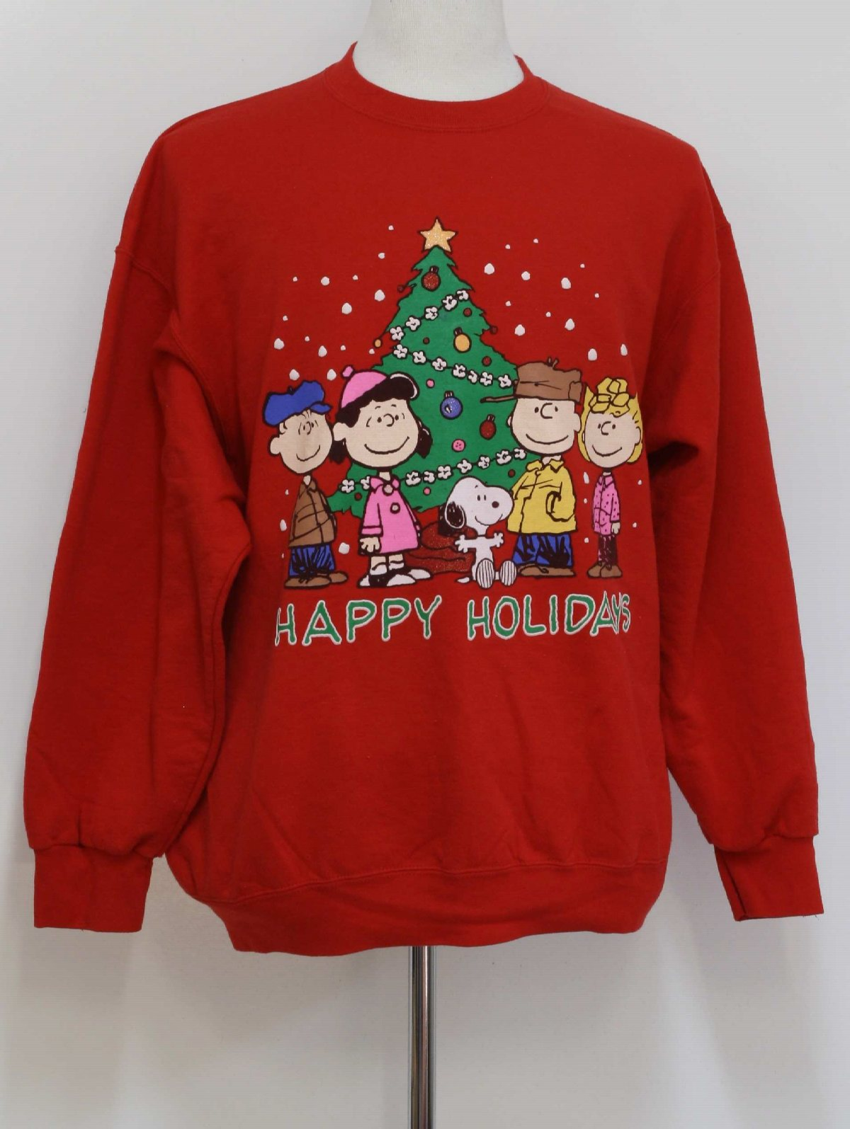 ugly christmas sweatshirt 80s style peanuts unisex red background cotton polyester blend longsleeve pullover ugly christmas sweatshirt with charlie brown