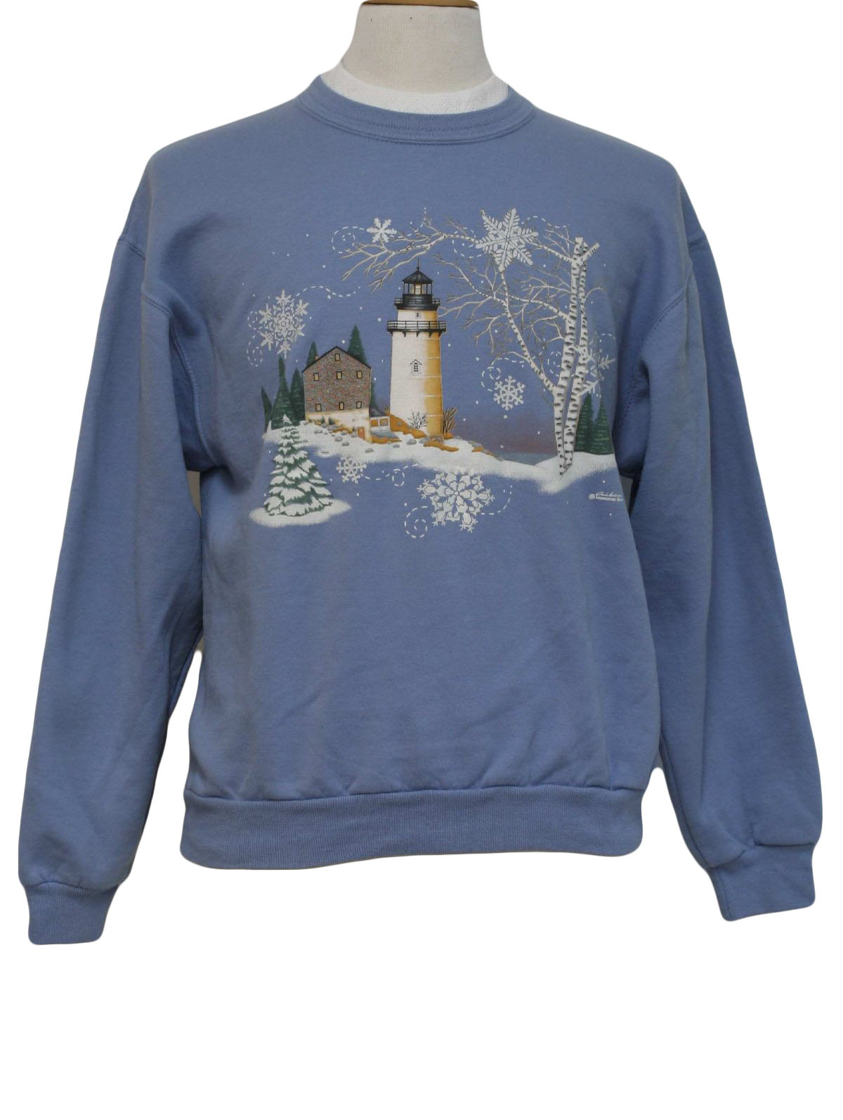 Ugly Christmas Sweatshirt Morning Sun Unisex Light Blue