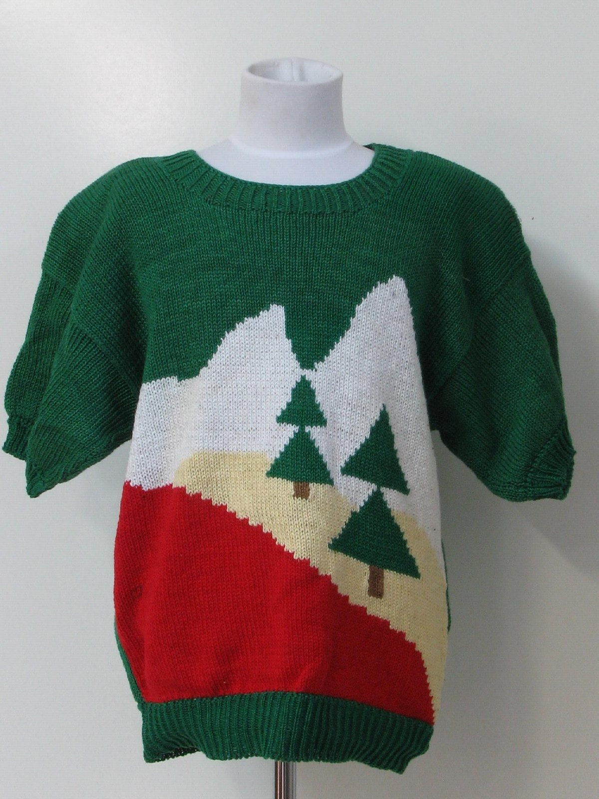1980 39 s womens ugly christmas sweater blouse early 80s for Over the top ugly christmas sweaters