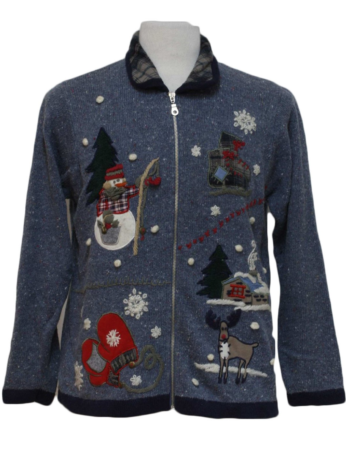 Country kitsch ugly christmas sweater victoria jones for Fishing christmas sweater